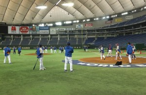 中華隊今天在東京巨蛋進行練習