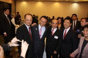 王金平中華民国立法院院長右2人目)、沈斯淳代表(左)、麻生太郎副総理(左2人目)