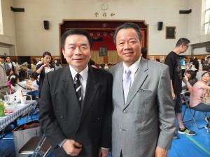 僑務組組長趙雲華(右)和台灣同鄉會會長蘇成宗(左)皆受邀出席東京中華學校迎新園遊會