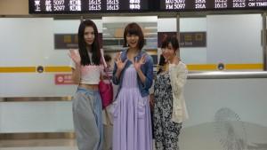 AKB48底松山機場,左起為菊地彩香、阿部瑪莉亞及片山陽加(照片提供:台北市觀光傳播局)