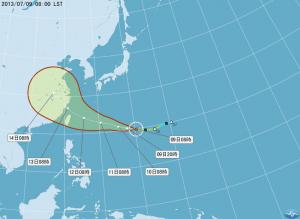 台風7号進路予報図(7月9日午前8時現在/中央気象局提供)