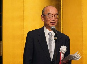 主辦單位之一的產經新聞社社長清原武彥致詞恭喜謝依旻6度蟬聯女流名人頭銜