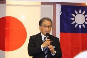 日台経済文化交流会加藤光淑会長の代理として開会の挨拶にたった馬淵広三郎副会長