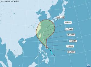 台風15号進路予報図(8月26日午後2時現在/中央気象局提供)