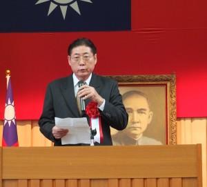 中華民國留日東京華僑總會會長李維祥致詞呼籲僑界團結一心,為國家貢獻心力