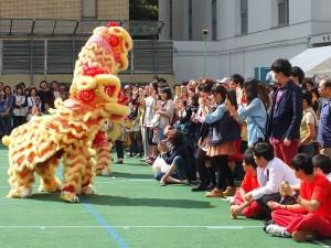 精彩的舞獅表演,贏得場邊觀眾的熱烈歡呼
