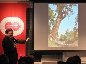 片倉佳史以自己實地走訪的台灣世界遺產潛力點的經驗,分享給與會的聽眾
