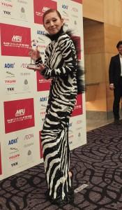 夏木瑪麗一襲斑馬紋造型,笑說連Lady GaGa看到了也會嚇一跳