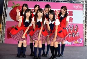 九州少女偶像團體LinQ抵台促銷家鄉甘王草莓(照片提供:新竹市政府)