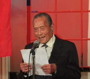 明年將迎接百歲生誕的日本華商總會理事長林錦漫,出席新年會並致詞感謝與會貴賓參加