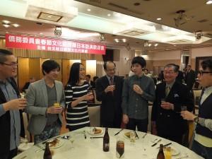 餐會中駐日代表沈斯淳和日本中華聯合總會會長毛友次,特別向此次的演出人員致意,並鼓勵他們有機會前來日本發展