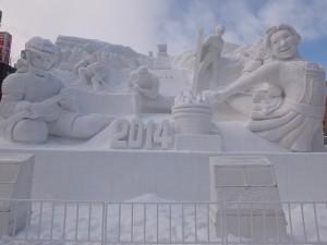 配合明日開幕的冬季奧運,製作出冬奧主題的大型雪像