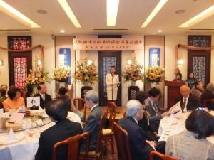 橫濱華僑總會會長施梨鵬致詞呼籲橫濱僑界一起為中華街的發展努力