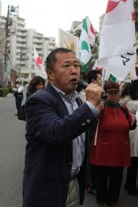 声を荒げて呼びかけを行った台湾研究フォーラム会長の永山英樹氏