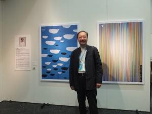 台灣美術院副院長林磐聳用漂浮的雲朵和多彩的線條來詮釋台灣