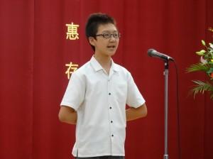 大阪中華學校代表同學  聲音宏亮 台風穩健