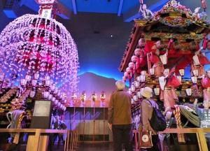 秩父祭會館內展示秩父夜祭的「笠鉾」花車和「屋台」花車
