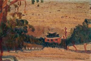 立石鐵臣「東門の朝」1933年 (提供:泰明画廊)