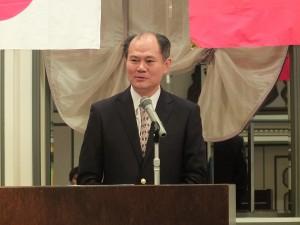 台北駐日経済文化代表処・横浜分処の粘信士処長も同協会の発展を願い激励の言葉をかけた