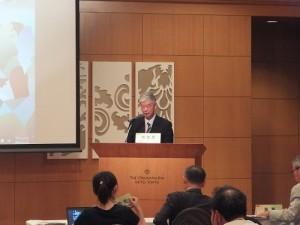 中華經濟研究院董事長梁啟源在研討會上致詞