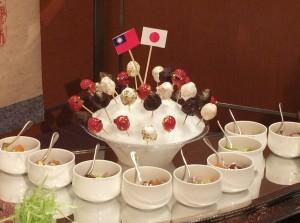 <百花繚乱>台湾かき氷に日台双方の果物を用いたチョコレートフォンデュ