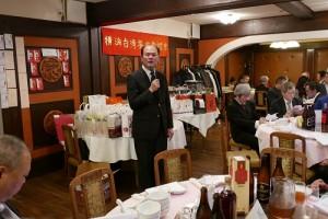 駐橫濱辦事處處長粘信士致詞感謝日本各界關心台南災情