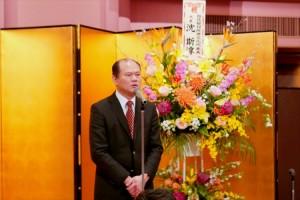 駐橫濱辦事處處長粘信士致詞感謝日本各界關心台南震災