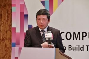 外貿協會副秘書長葉明水專程到日本舉辦記者會,說明力求轉型的台北國際電腦展展覽內容