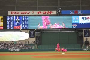 球場で台湾獅子舞も披露された