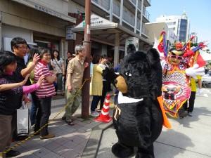 台灣喔熊與沿途民眾互動