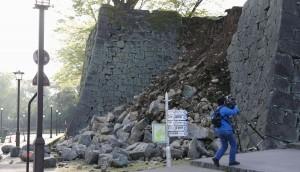 熊本城の城壁崩壊(提供:中央社)