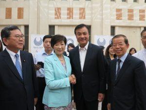 立法院長蘇嘉全(右2)率團,在駐日代表謝長廷(右1)陪同下,拜會東京都知事小池百合子(左2)