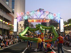 山形花笠まつりのパレードにて