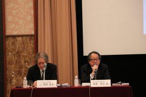 研討會來賓每日新聞專門編輯委員坂東賢治(右)與主持人亞洲調查會常務理事吉田弘之