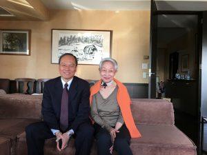 僑務委員長吳新興拜會前國策顧問金美齡(右),暢談如何推展台日關係