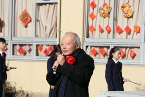 台北駐日經濟文化代表處副處長郭仲熙感謝校友會和僑界人士熱心舉辦春節祭